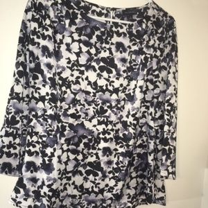 Black, White, and Lavender Floral Blouse